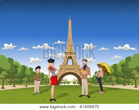 Fashion french cartoon family in Paris, with the Eiffel Tower