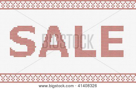 Christmas sale design template. Knitted vector illustration