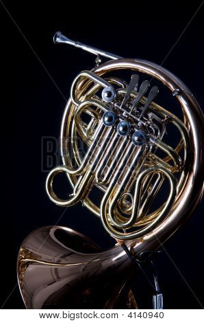 French Horn On Black