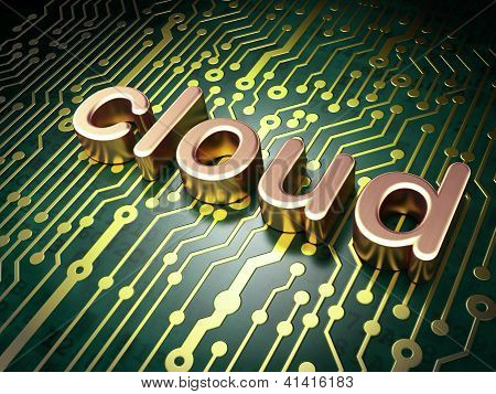 Cloud computing technology, networking concept: circuit board wi