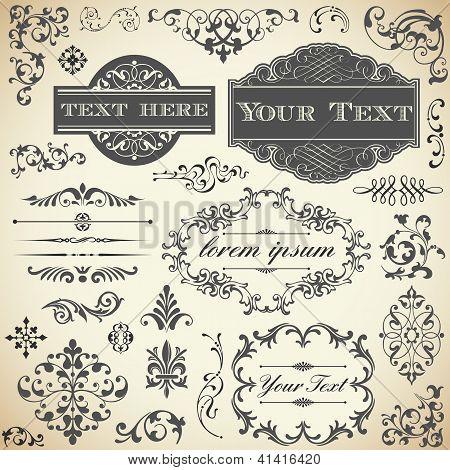 Conjunto de caligrafia de ornamento vintage
