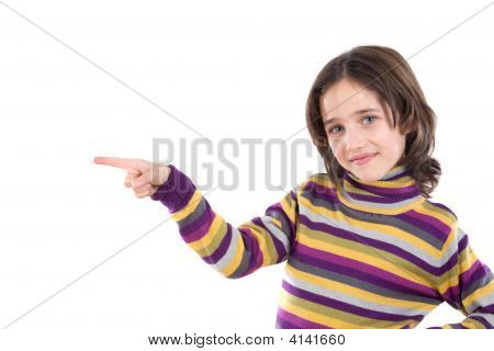 Beautiful Girl Pointing With Her Finger