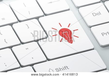 Business concept: computer keyboard with Light Bulb