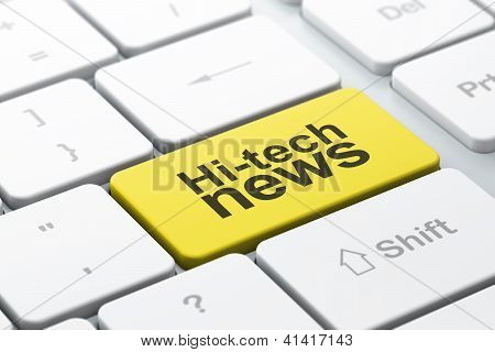 News concept: computer keyboard with Hi-tech News