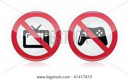 No computer games, no tv warning signs - vector