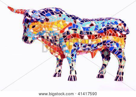 Bull In Mosaic Style - Spanish Souvenir