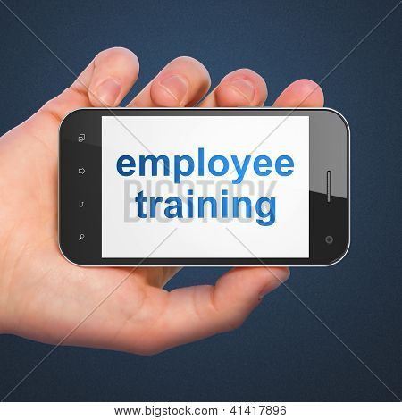 Education concept: smartphone with Employee Training