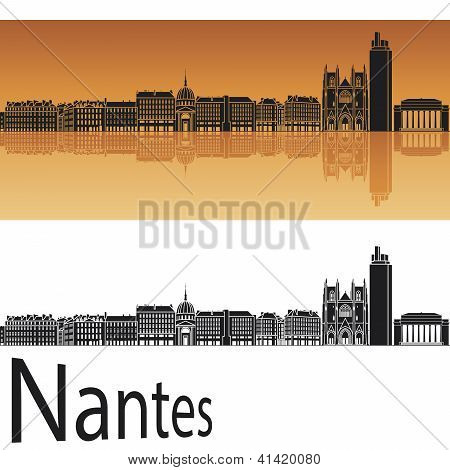 Nantes Skyline In Orange Background