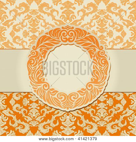 Abstract Leaf Background, Exclusive, Creative Ornament, Ornate, Baroque, Vintage, Orange Frame