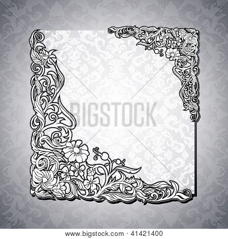Antique, Vintage Floral, White Frame
