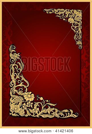 Antique, vintage red frame, floral wallpaper ornament