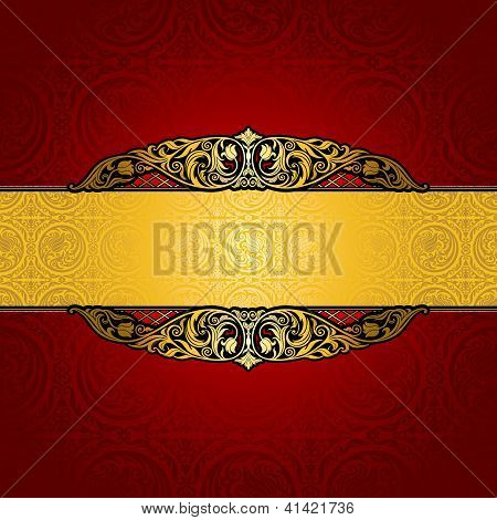 Vintage Background, Antique, Victorian Gold Ornament, Baroque Red Frame, Beautiful Old Paper, Card