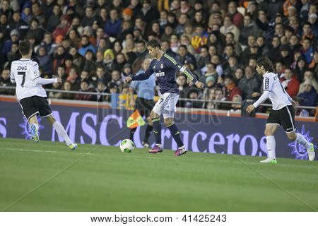 VALENCIA - JANUARY 23: Ronaldo with ball during Spanish King�´s Cup match between Valencia CF and Real Madrid, on January 23, 2013, in Mestalla Stadium, Valencia, Spain