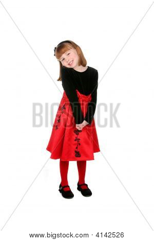 Pretty Little Girl In Red Dress And Tights