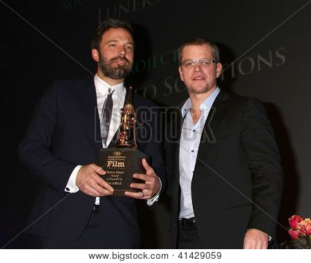 SANTA BARBARA - JAN 25:  Ben Affleck, Matt Damon arrive at the 2013 SBIFF Modern Masters Award presented to Ben Affleck at Arlington Theater on January 25, 2013 in Santa Barbara, CA