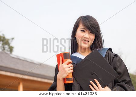 Portrait of a thoughtful graduation student