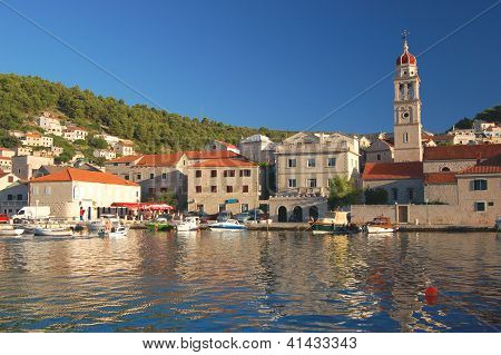 Picturesque superb view of village Pucisca on Brac island, Croatia