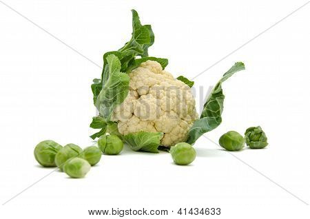 Isolated Fresh Cauliflower Cabbage With Green Leaves