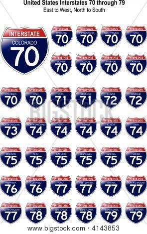 Estados Unidos interestatales 70 a través de 79