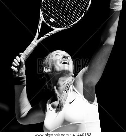 MELBOURNE - JANUARY 23: Victoria Azarenka of Belarus in her quarter final win over Svetlana Kuznetsova at the 2013 Australian Open on January 23, 2013 in Melbourne, Australia.