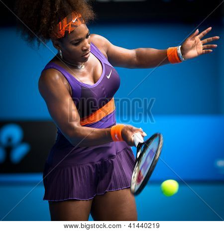 MELBOURNE - JANUARY 17: Serena Williams of the USAin her second round win over Garbine Muguruza of Spain at the 2013 Australian Open on January 17, 2013 in Melbourne, Australia.