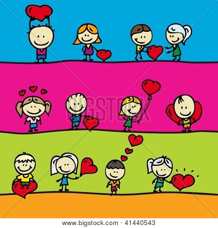 Set of borders with doodle happy children with love valentine hearts