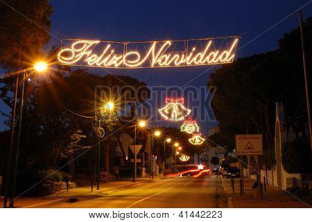 Christmas street decorations, Calahonda, Spain.