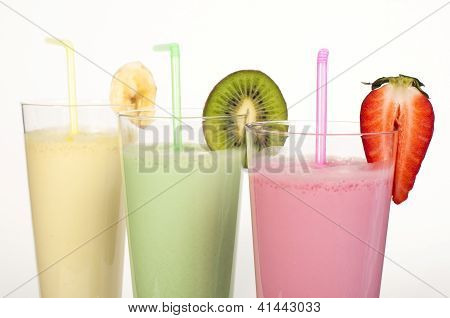 Banana, Kiwi And Strawberry Milk Shake And Fresh Fruis