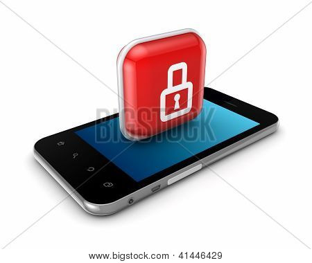 Modern mobile phone with icon of lock.