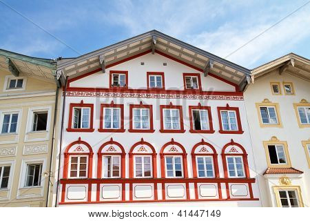 Facade of a traditional house in the town of Bad Toelz, Bavaria