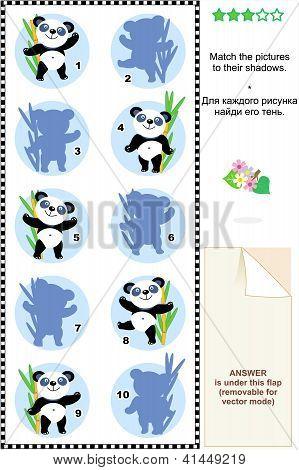 Match to shadow visial puzzle - panda bears