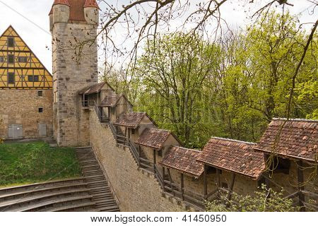 Part of the battlement in the medieval city of Rothenburg, Germany