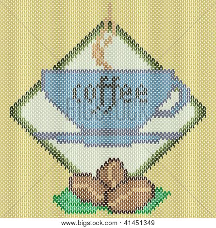 Coffee cup icon on knitted background