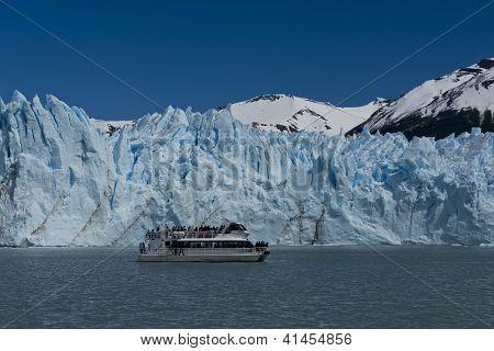 Boat In Front Of The Glacier Perito Moreno