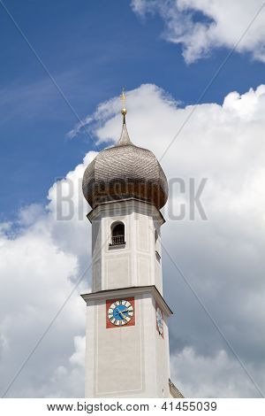 Historic Bavarian church steeple near lake Tegernsee