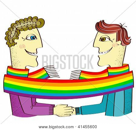 Happy Gays Couple With Hands Together.vector Cartoons Image Isolated On White
