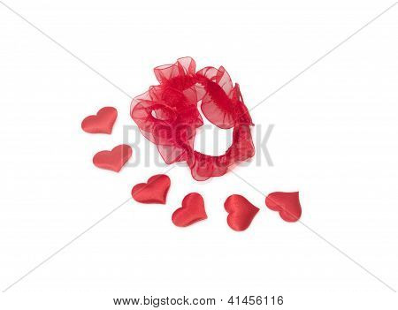 Red Garter And Six  Heards On White Background Valentine's Day