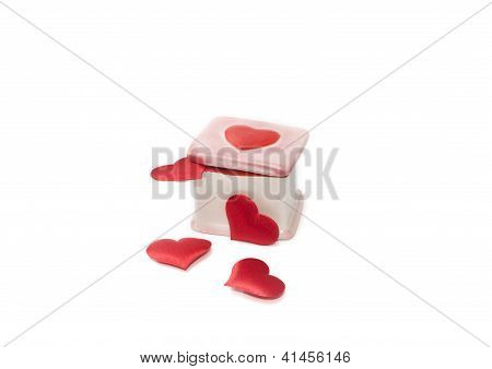 Porcelain Box And Four Red Heards Valentine's Day Gift