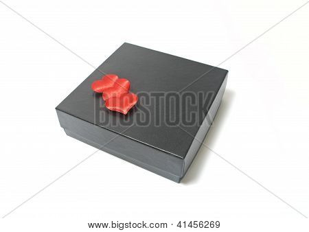 Black Box And Three Red Heards Valentine's Day