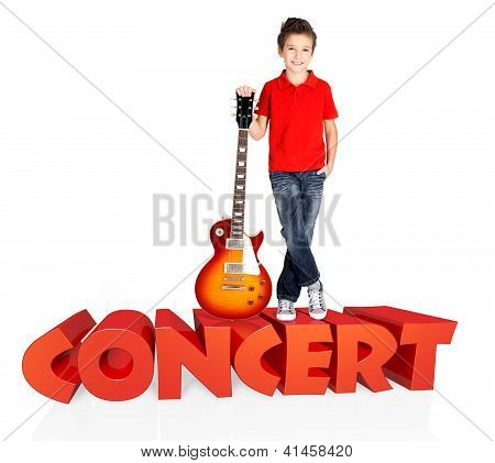 Boy With Electric Guitar With 3D Text