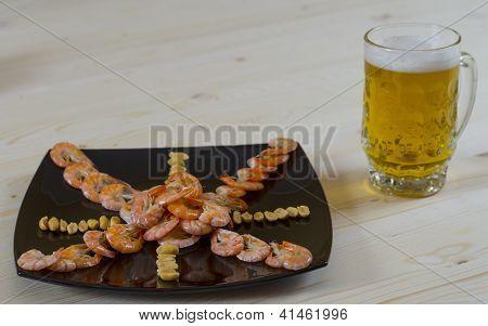Beer, shrimp appetizer asterisk