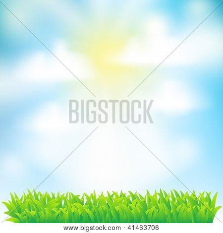 Spring Background With Grass,sky And Clouds