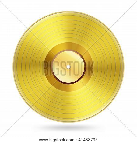 Realistic Golden Records Disc On White