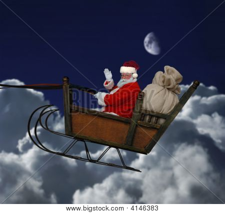 Santa In Flight