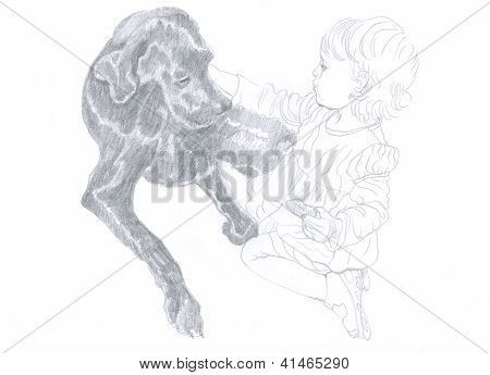 little girl touching the dog