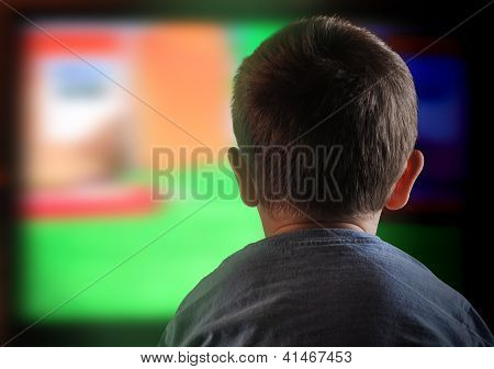 Boy Child Watching Television At Home