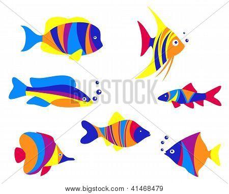 Peixes de aquário colorido abstrato
