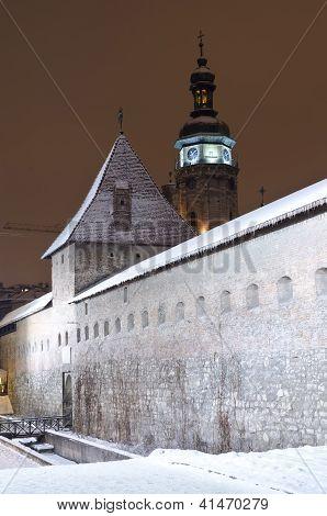 Snowy Bernardine Monastery In Lvov At The Night