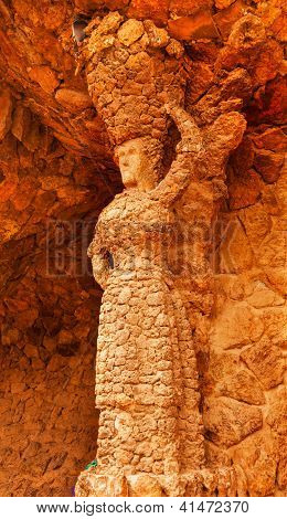 Stone Woman Colonnaded Footway Under Viaduct Antoni Gaudi Guell Park, Barcelona, Catalonia, Spain