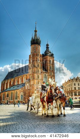 Old Market Square In Krakow, Poland